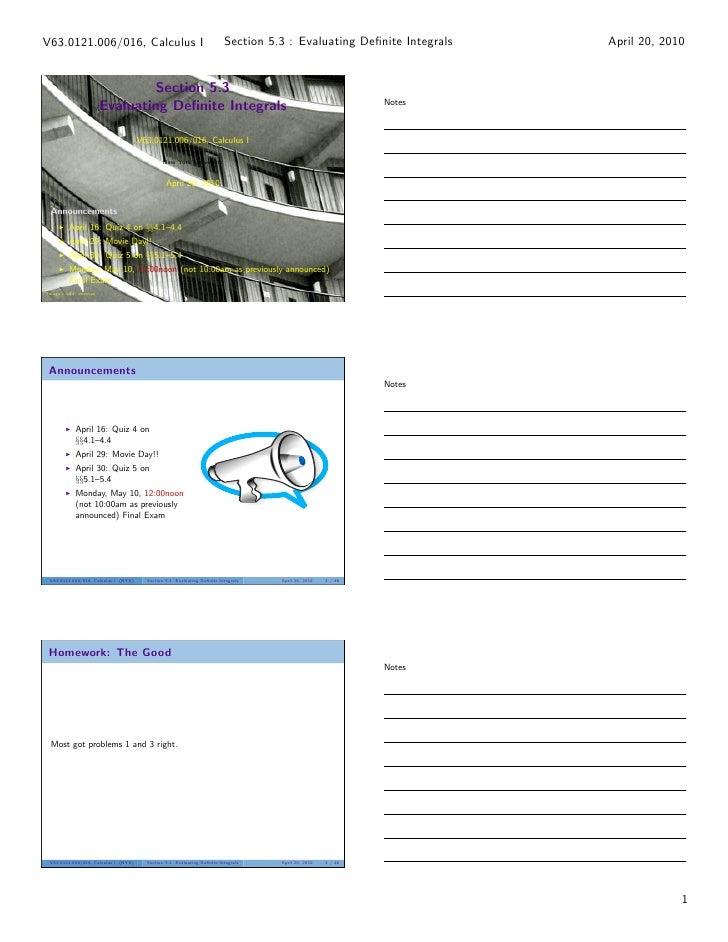 V63.0121.006/016, Calculus I                                             Section 5.3 : Evaluating Definite Integrals   Apri...