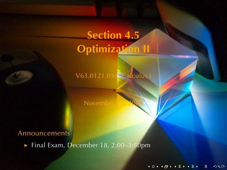 Section4.5                 OptimizationII                  V63.0121.034, CalculusI                      November25, 20...