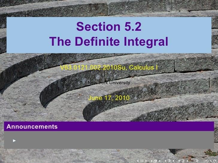 Lesson 25: The Definite Integral