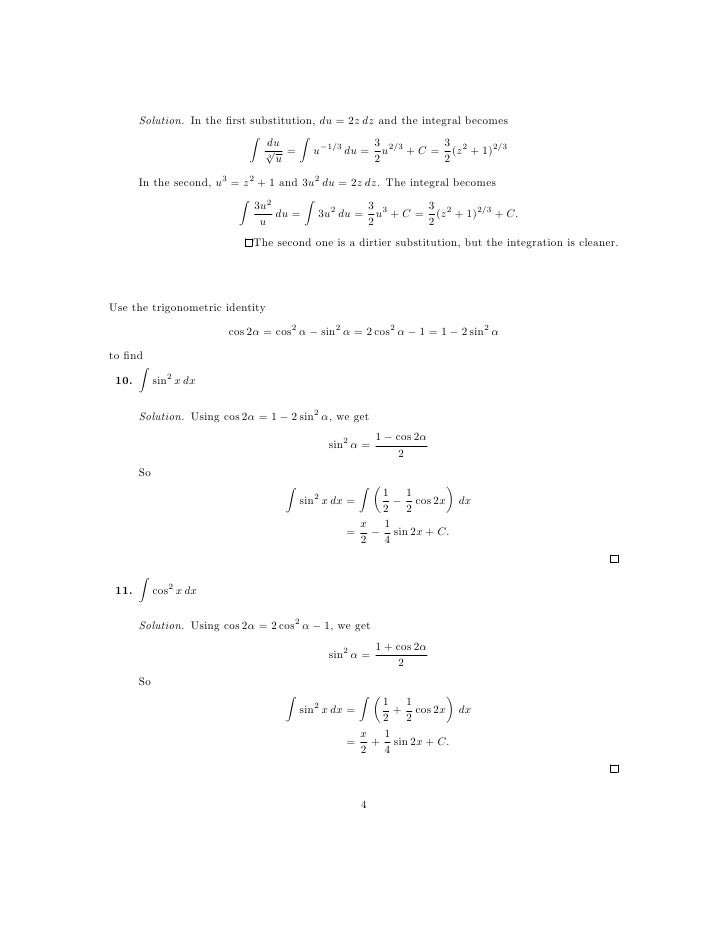 Lesson 28: Integration by Substitution (worksheet solutions)