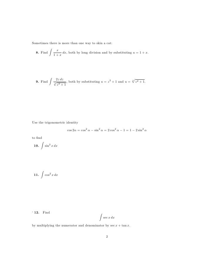 Integration By Substitution Worksheet Free Worksheets Library – Substitution Math Worksheets