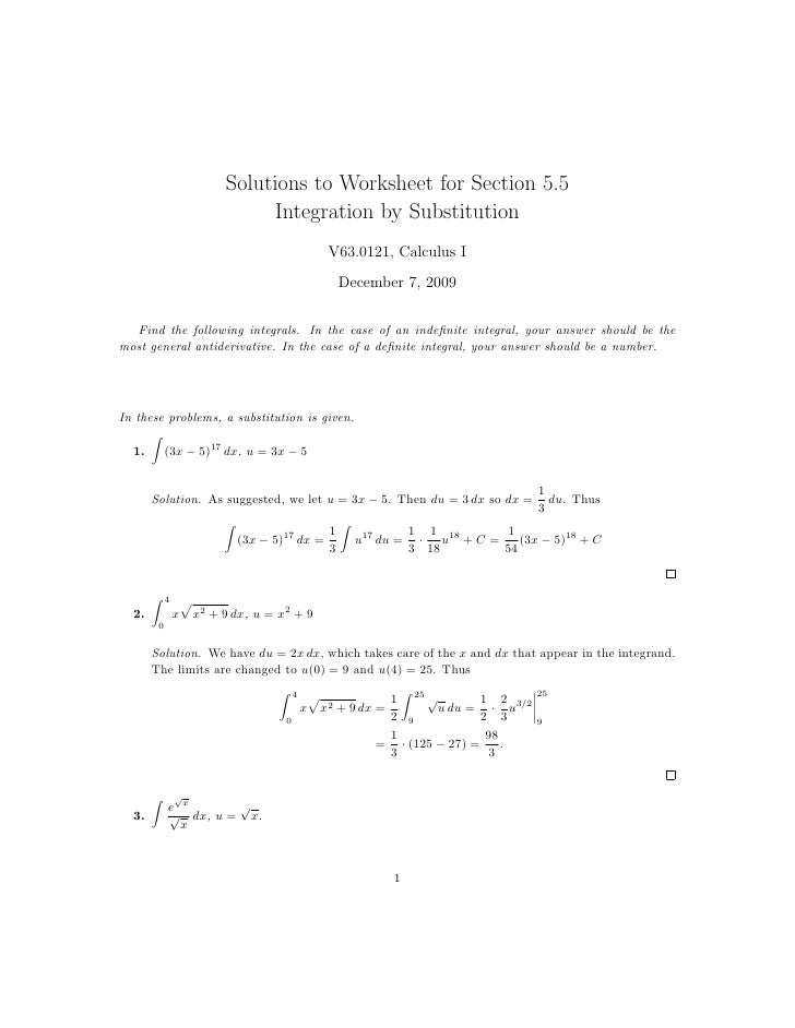 Solutions to Worksheet for Section 5.5                                Integration by Substitution                         ...
