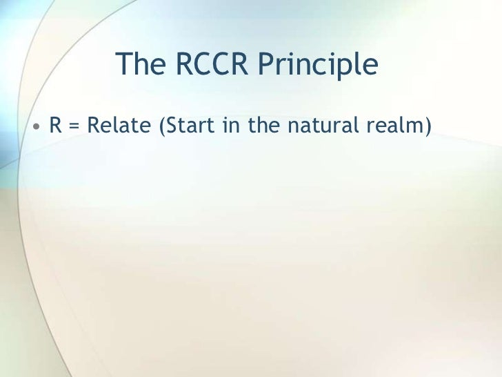 The RCCR Principle<br />R = Relate (Start in the natural realm)<br />