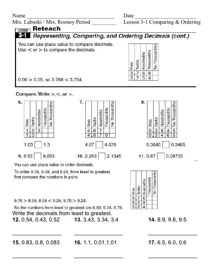 lesson 3 1 comparing ordering decimals. Black Bedroom Furniture Sets. Home Design Ideas