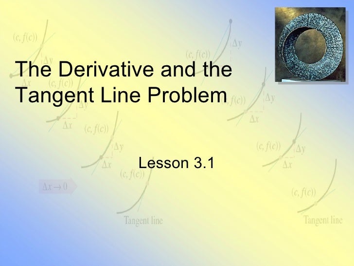 The Derivative and the Tangent Line Problem Lesson 3.1