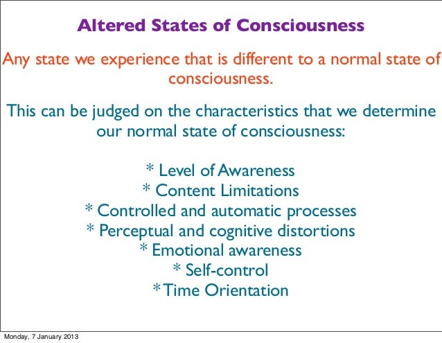 states of consciousness essay Consciousness is not a simple state that is either on or off studies with anesthesia showed patients responding to commands or communicating, but later having no memory of doing so.