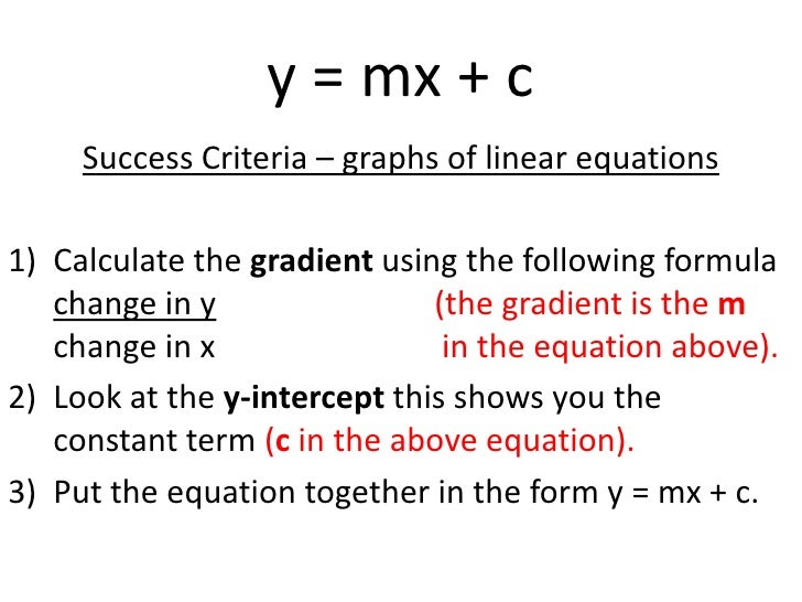 how to change y mx b into ax by c