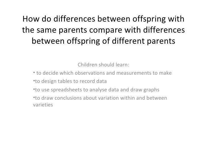 How do differences between offspring with the same parents compare with differences between offspring of different parents...