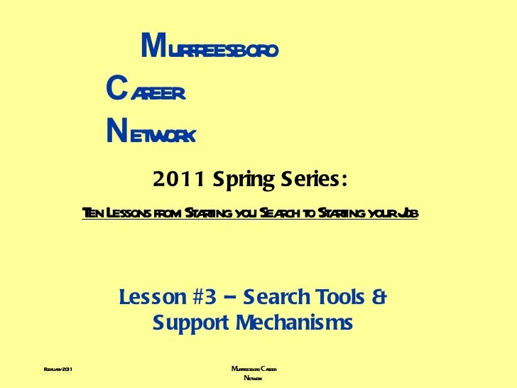 M urfreesboro    C areer    N etwork 2011 Spring Series: Ten Lessons from Starting you Search to Starting your Job Lesson ...