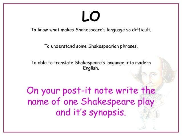 Lesson 4 shakespeares language
