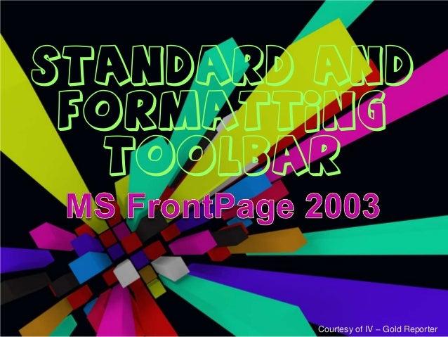 Standard and formatting toolbar