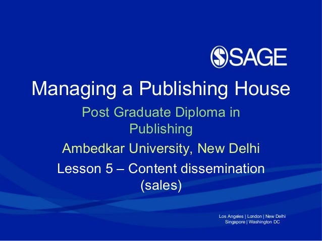 Managing a Publishing Enterprise Lesson 5 (Ambedkar University)