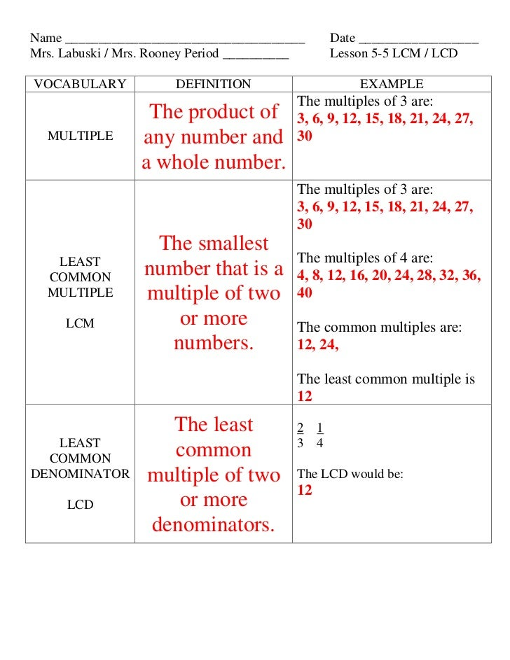 Lesson 5 5 lcm