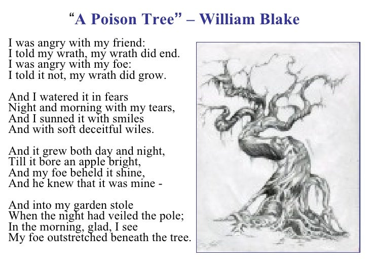 an analysis of the central metaphor of human nature in a poison tree by william blake In a poison tree by blake, there is a central metaphor that portrays the truth about human nature first, a poison tree can be a symbol of goodwill and mother nature however, it can also be nurtured to become a lethal poisonous tree thus, the poison tree exemplifies the polar opposites of human nature: good and evil.