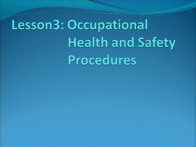 Occupational Safety and Health is a planned system of working to prevent  illness and injury where you work by recognizin...