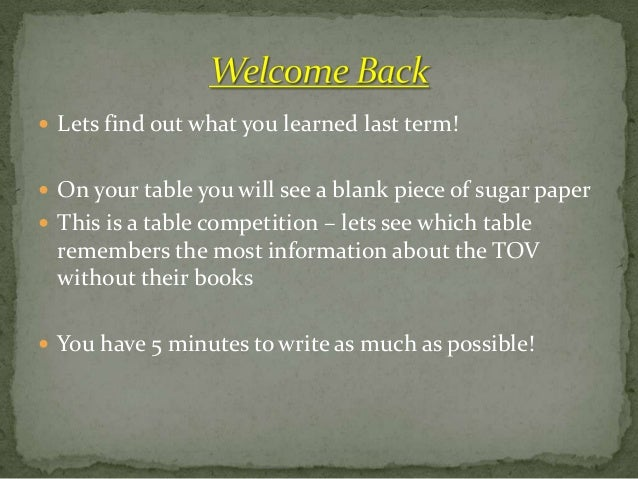  Lets find out what you learned last term! On your table you will see a blank piece of sugar paper This is a table comp...