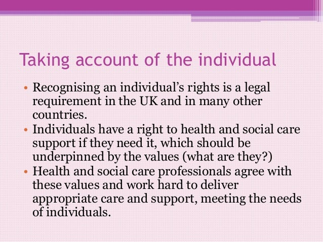 individual rights in health and social care essay Essay about individual rights and social care assignment front sheet learner name assessor name date issued completion date submitted on qualification unit number and title/credits btec first diploma in health and social care unit 2: individual rights in health & social care credits: 5 learner declaration i certify that the work submitted.