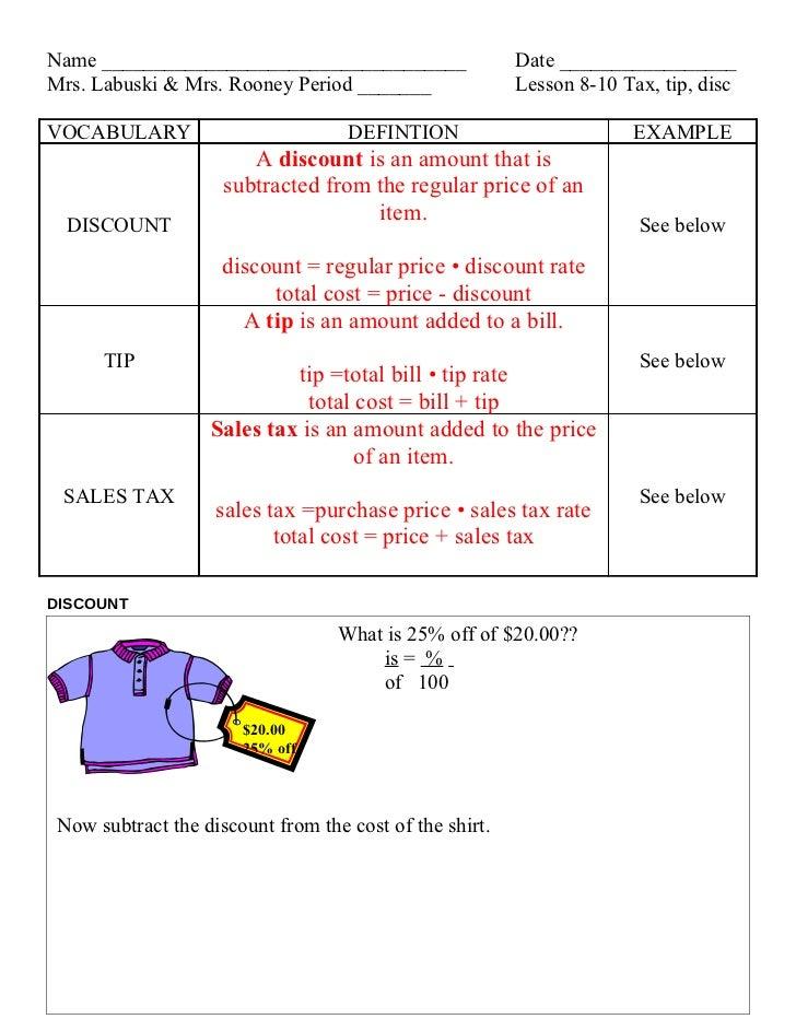 Lesson 8 10 tax, tip, disc