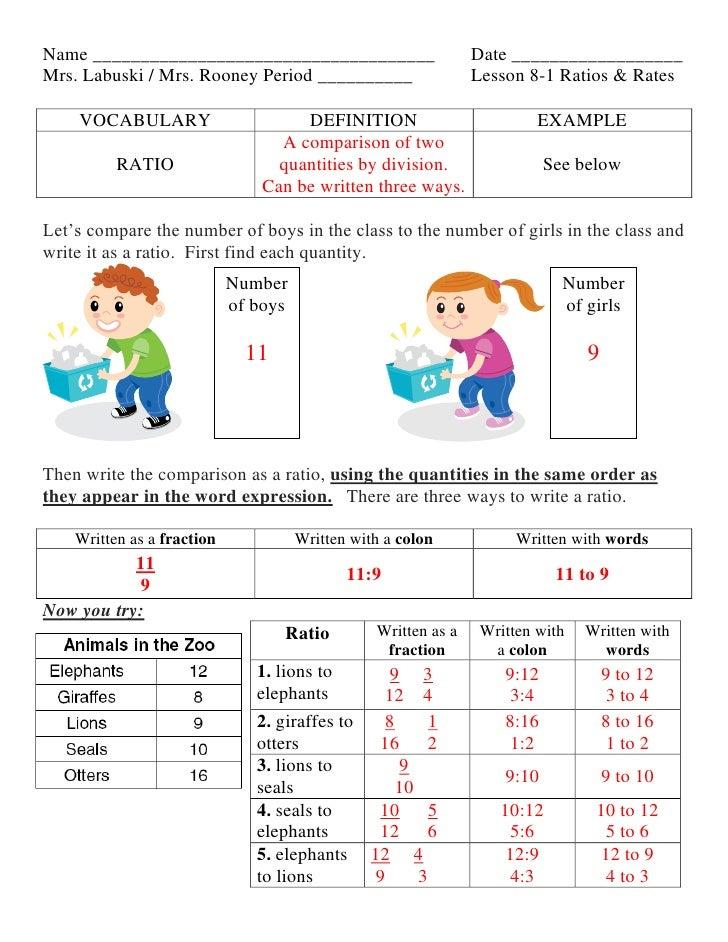 Lesson 8 1 ratios & rates