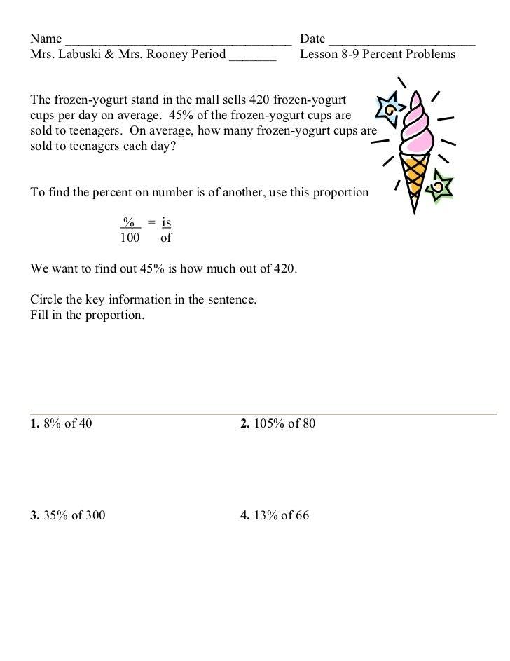 Lesson 8 9 percent problems
