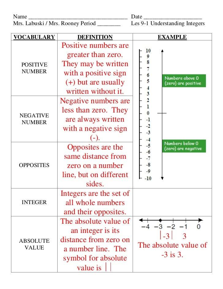 Lesson 9 1 understanding integers