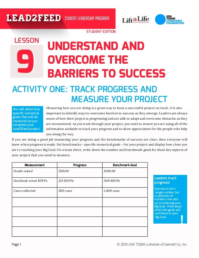 STUDENT EDITION 99 ACTIVITY ONE: TRACK PROGRESS AND   MEASURE YOUR PROJECT  Measuring how you are doing is a grea...