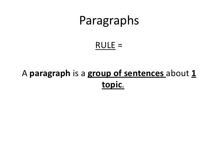 Paragraphs<br />RULE = <br />A paragraph is a group of sentences about 1 topic.<br />