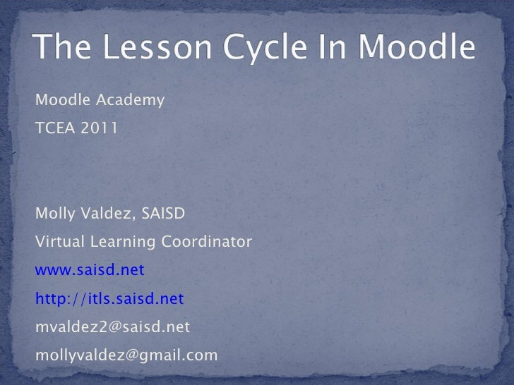 Lesson cycle in moodle