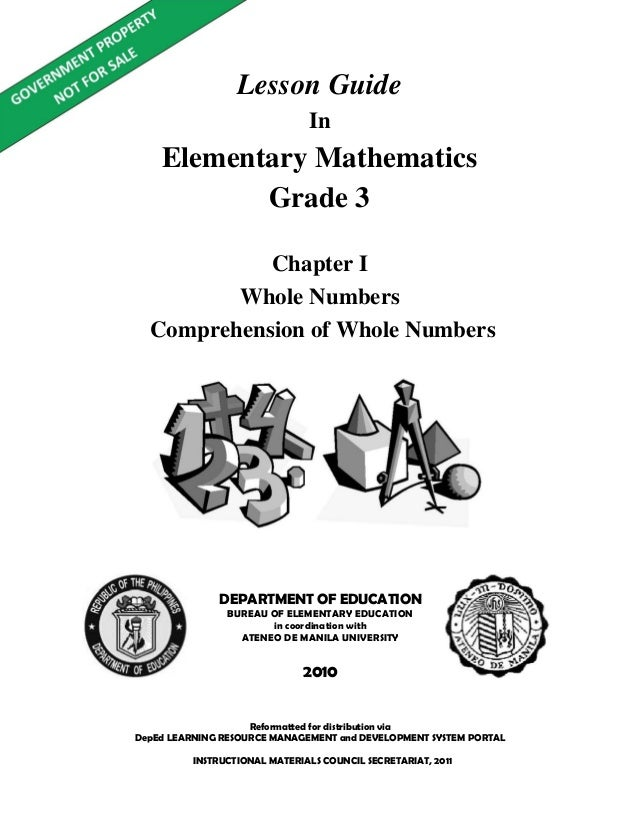 Lesson guide   gr. 3 chapter i -comprehension of whole numbers v1.0