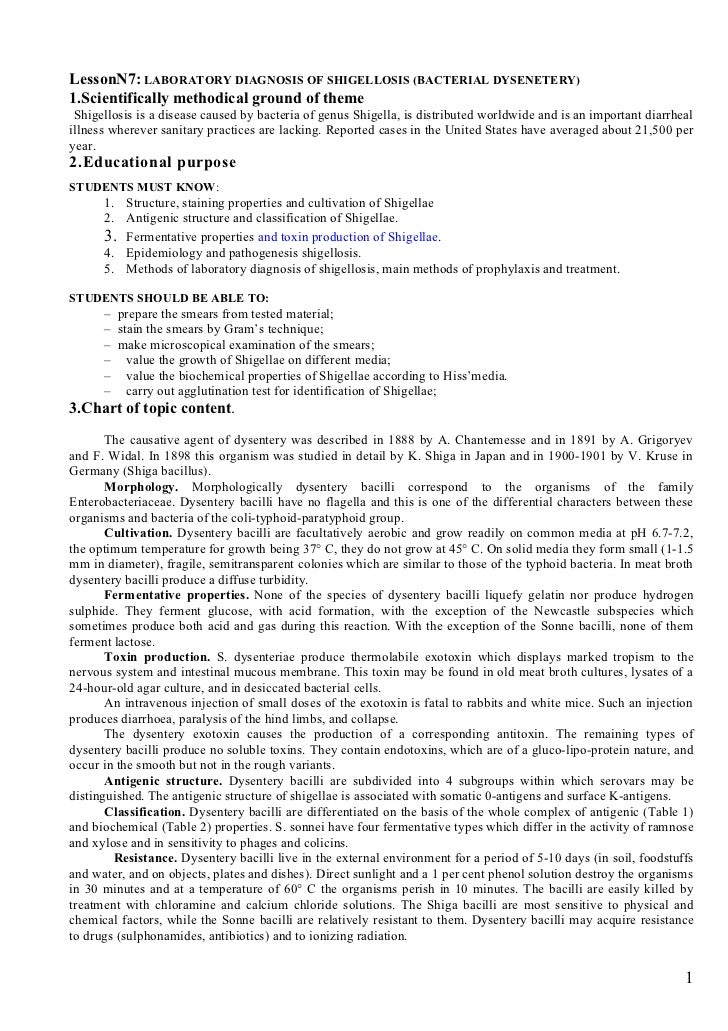 LessonN7: LABORATORY DIAGNOSIS OF SHIGELLOSIS (BACTERIAL DYSENETERY)1.Scientifically methodical ground of theme Shigellosi...