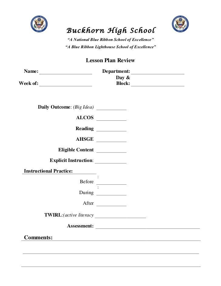 Buckhorn Lesson Plan Review Form