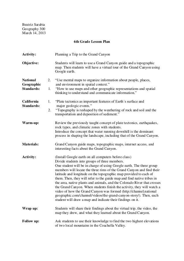 Lesson plan 6th grade
