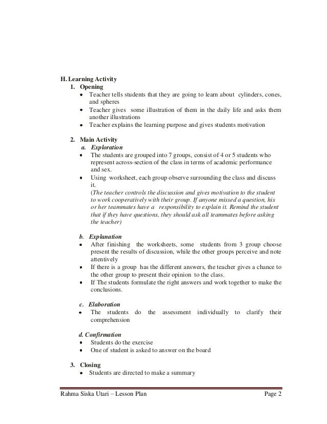 English Worksheets For High School : Sample lesson plan template high school