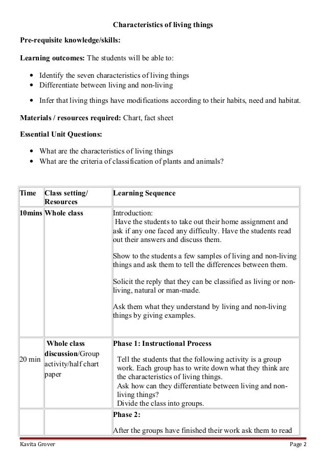 Lesson Plan and Worksheets on Characteristics of Living Lhings