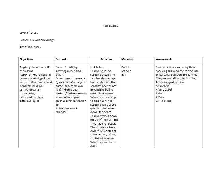 Lesson planLevel 5th GradeSchool Felix Arcadio MongeTime 30 minutesObjectives                   Content                   ...