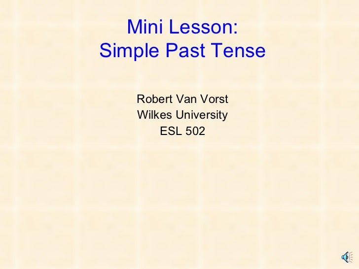 Robert Van Vorst - Mini Lesson (ESL 502)