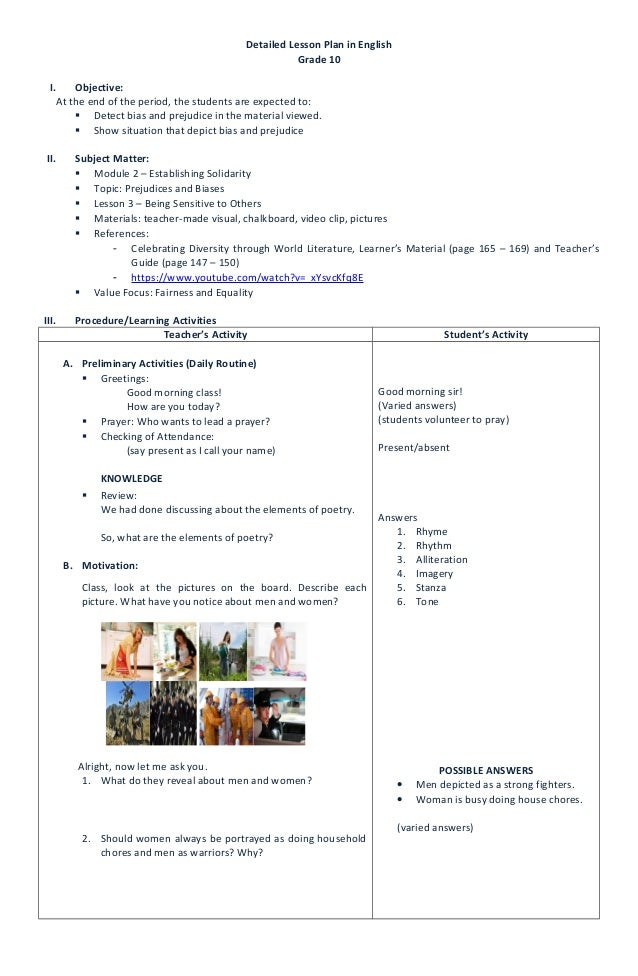 detailed lesson plan in english iii Whether you are looking for a lesson aligned to a common core state standard, next generation science standard, or a lesson aligned to your state standard in english, math, science, and social studies, at share my lesson we have you covered.