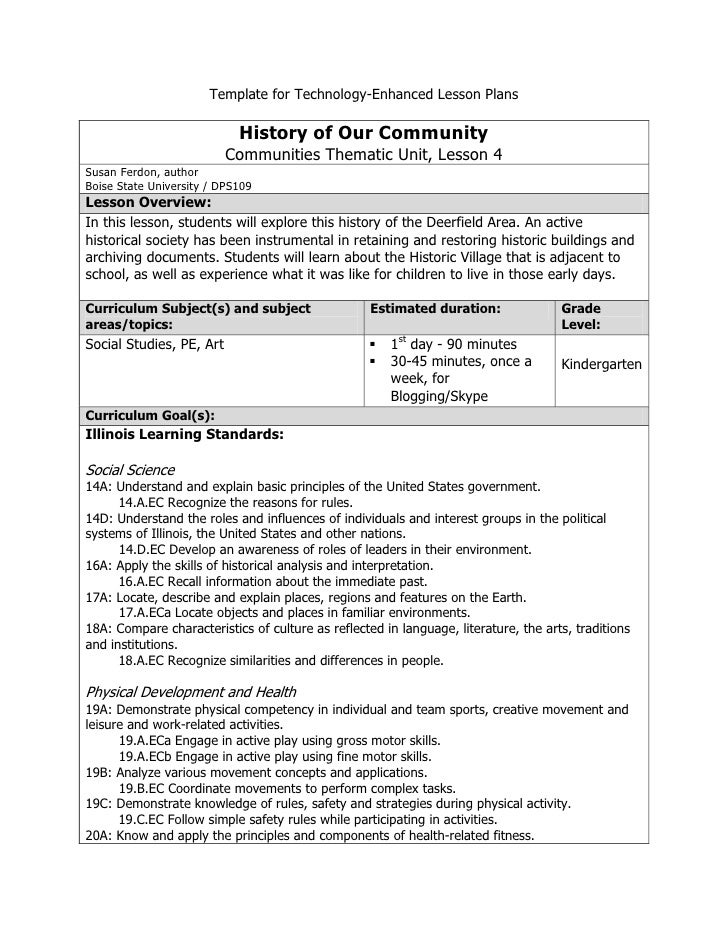 Template for Technology-Enhanced Lesson Plans<br /><ul><li>History of Our CommunityCommunities Thematic Unit, Lesson 4Susa...