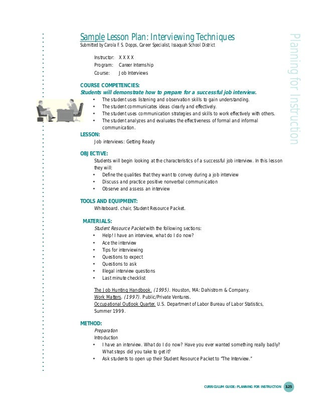 """interview techniques lesson plan How to teach job interview some general interview tips that are covered include 4 thoughts on """" how to teach job interview skills: an esl/efl lesson plan."""