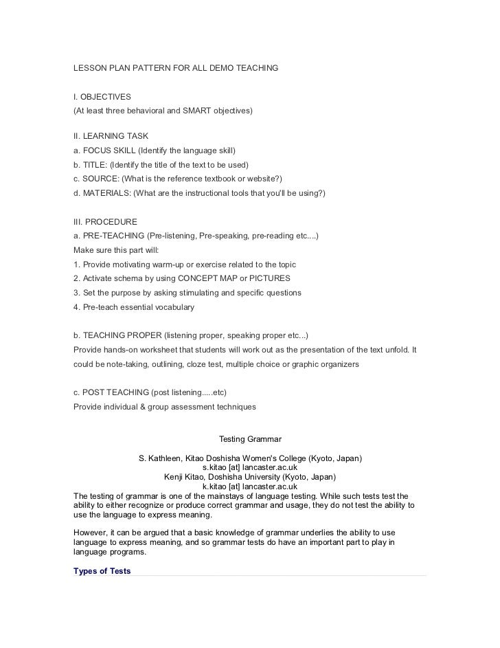 LESSON PLAN PATTERN FOR ALL DEMO TEACHINGI. OBJECTIVES(At least three behavioral and SMART objectives)II. LEARNING TASKa. ...
