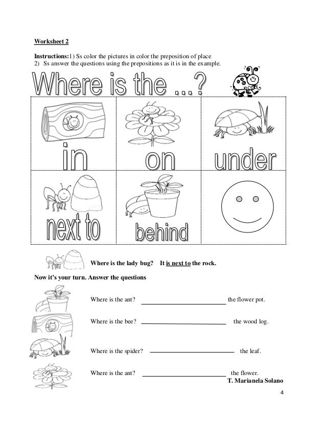 Printable Preposition Worksheets : Prepositions of places printable worksheets free esl