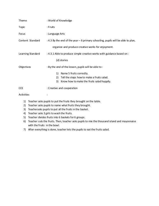 Lesson Plan Y3 Language Art