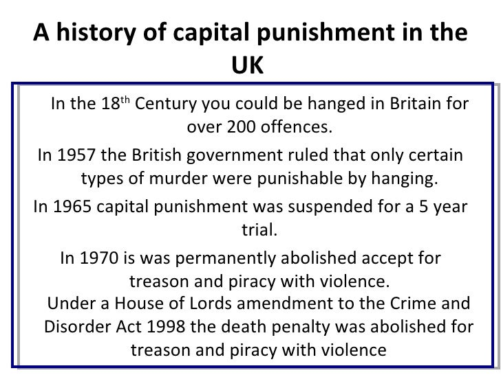 reinstating capital punishment in britain essay As mps prepare for a likely commons debate on capital punishment a mail on sunday poll has found the last hangings in britain were in 1964.