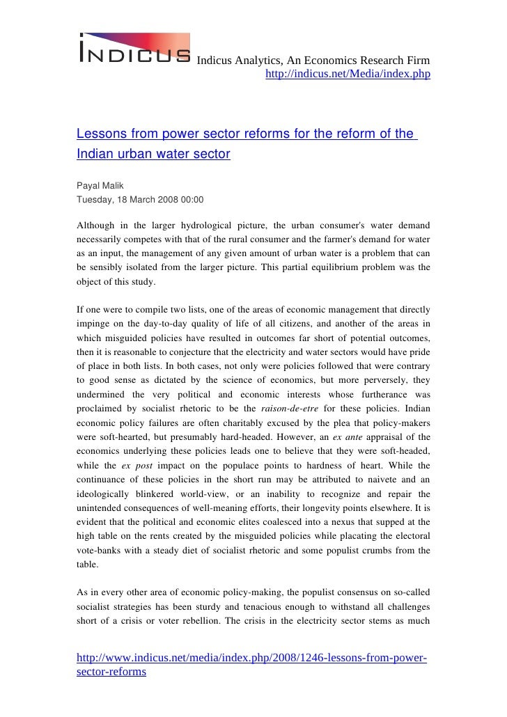 Lessons from power sector reforms for the reform of the Indian urban water sector