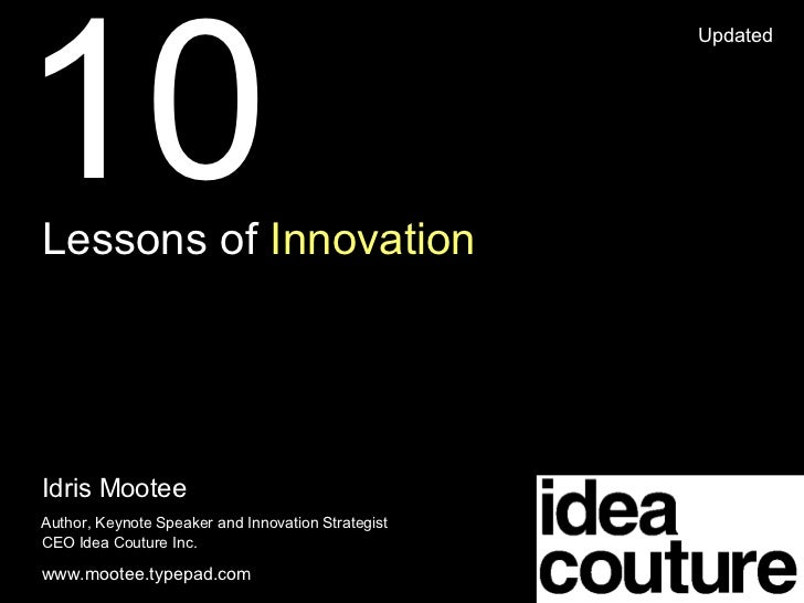 Lessons Of Innovation Idris Mootee