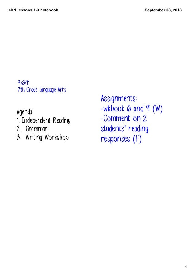 ch1lessons13.notebook 1 September03,2013 9/3/11 7th Grade Language Arts Agenda: 1. Independent Reading 2. Grammar 3....