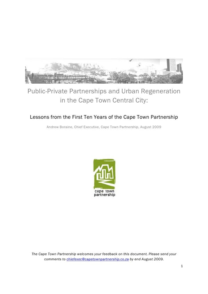 Public-private partnerships and urban regeneration in the Cape Town Central City: Lessons from the first ten years of the Cape Town Partnership