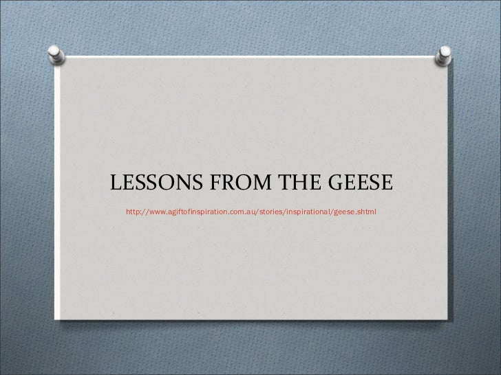 LESSONS FROM THE GEESE http://www.agiftofinspiration.com.au/stories/inspirational/geese.shtml