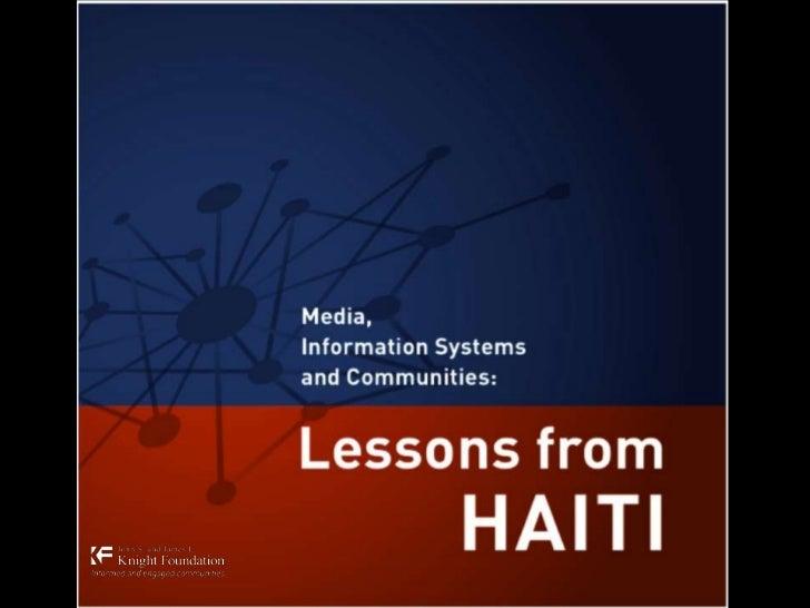 Lessons haiti pres