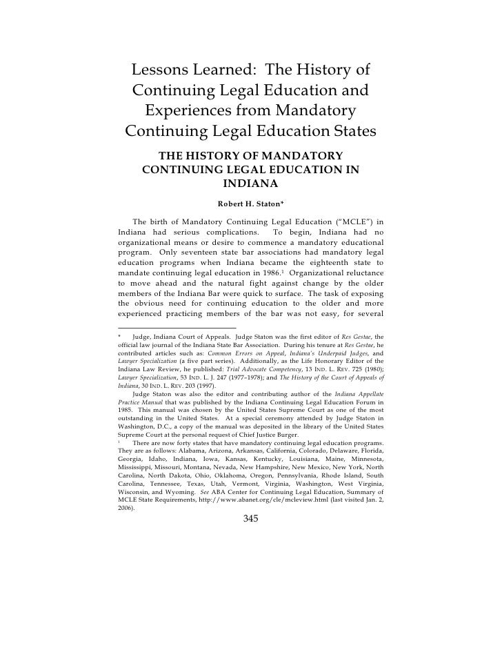 Lessons Learned The History Of Continuing Legal Education And